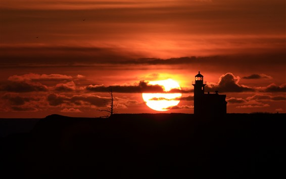 Wallpaper Lighthouse, sunset, red sky, clouds, silhouette