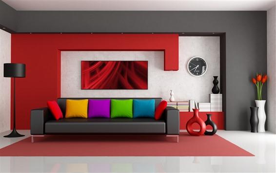 Papéis de Parede Sala de estar, sofá, travesseiro colorido, tulipas, design