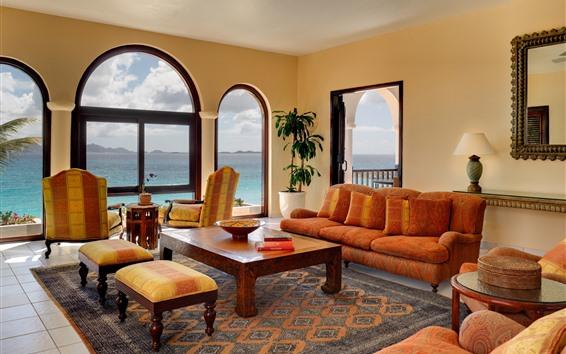 Papéis de Parede Sala de estar, sofá, mesa, cadeira, janela, mar, interior