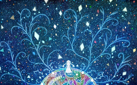Fond d'écran Fille aux cheveux longs, abstrait, coloré, arbres, étoiles