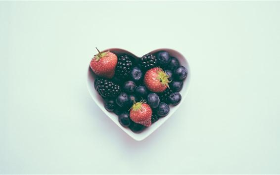 배경 화면 사랑의 마음, 그릇, 블루 베리, 딸기