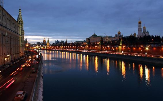 Fond d'écran Moscou la nuit, rivière, maisons, lumières, ville