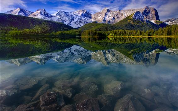 Wallpaper Mountain, lake, snow, trees, water reflection, nature