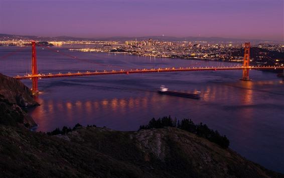 Обои Ночь, Сан-Франциско, мост, море, огни, США