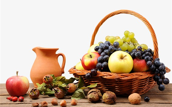 Wallpaper One basket of fruit, grapes, apples, nuts