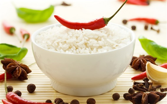 Wallpaper One bowl of rice, red pepper
