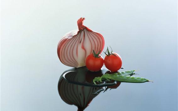 Fond d'écran Oignon, tomates, haricots, eau