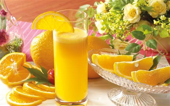 Fond d'écran Oranges, jus d'orange, tasse en verre, boissons