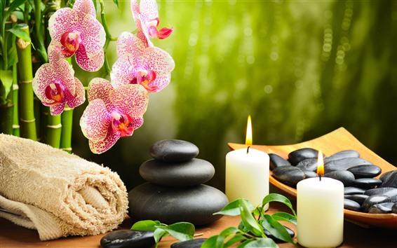 Wallpaper Phalaenopsis, stones, candles, towel, SPA