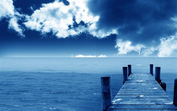 Papéis de Parede Cais, ponte, mar, azul, céu, nuvens, costa