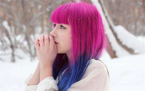 Wallpaper Pink hair girl, snow, winter