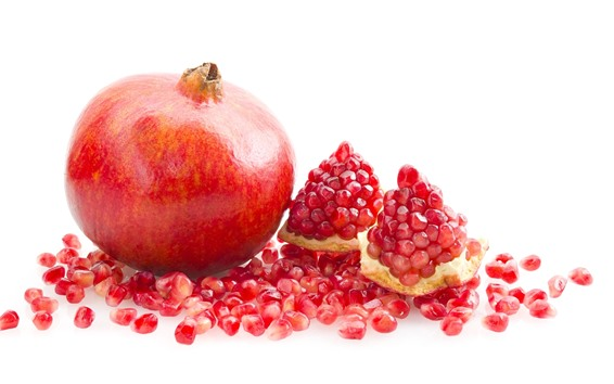 Wallpaper Pomegranate, fruit close-up, white background