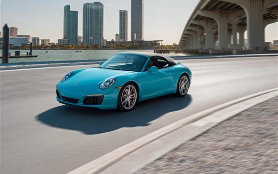 Fond d'écran Voiture bleue Porsche, vitesse, route, ville