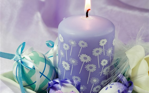 Wallpaper Purple candle, flame, Easter eggs