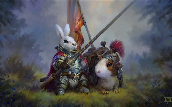 壁紙 ウサギの戦士、アートペインティング