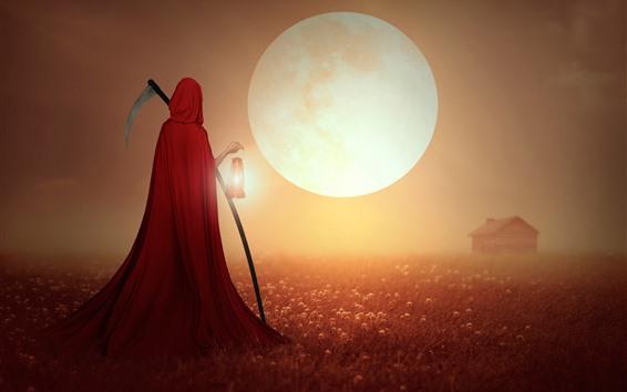 Papéis de Parede Ceifeira, capa vermelha, campo, casa, lua