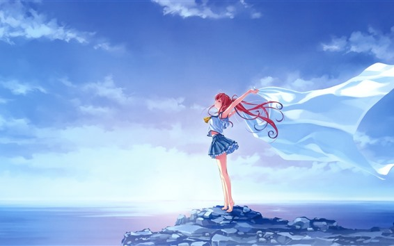 Wallpaper Red hair anime girl, freedom, wind