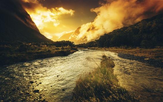 Papéis de Parede Rio, rochas, montanhas, grama, nuvens, crepúsculo