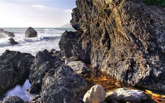 배경 화면 바위, 바다, 거품, 바다 파도