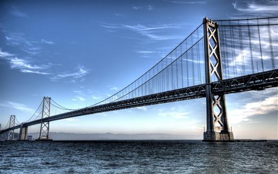 Обои Сан-Франциско, мост, море, облака, США