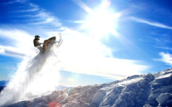 Wallpaper Snow, snowmobile, snow, sky, sun, winter