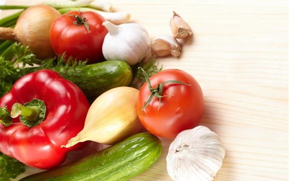 배경 화면 야채, 고추, 오이, 토마토 마늘, 양파