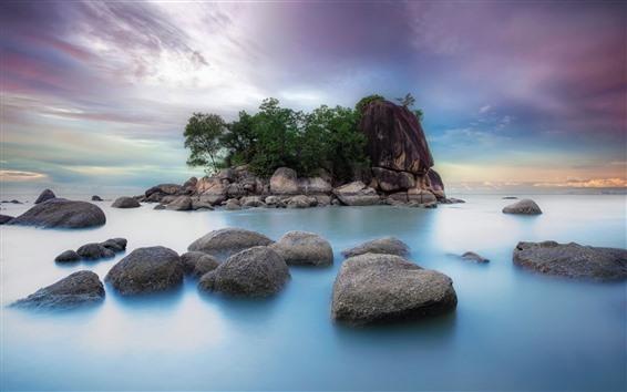 Papéis de Parede Pedras, mar, ilha, paisagens naturais