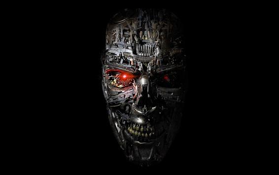 Papéis de Parede Terminator, robô, rosto, fundo preto