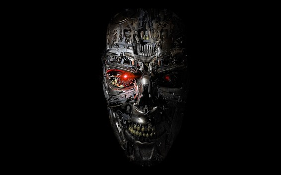Wallpaper Terminator, robot, face, black background