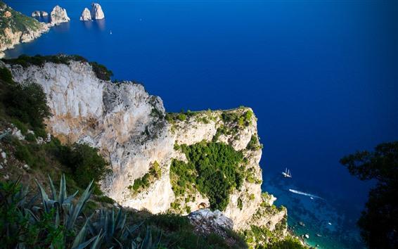 Fond d'écran Vue de dessus, mer, montagne, bleu, bateaux