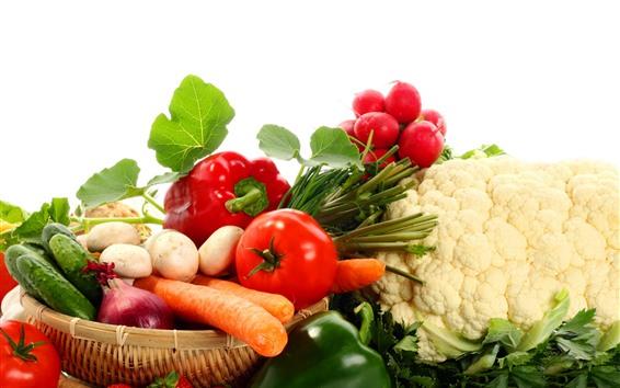 Papéis de Parede Legumes, tomates, cogumelos, pepino, couve-flor, pimenta