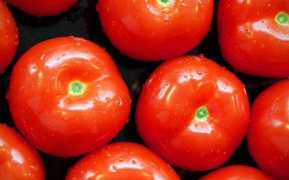 Fond d'écran Légumes, quelques tomates, gouttelettes d'eau