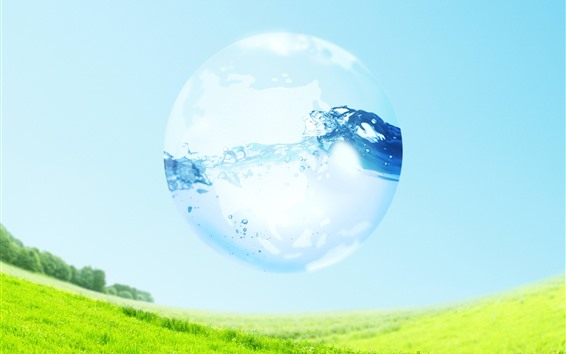 Wallpaper Water bubble, green grass, creative picture