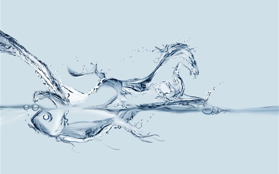 Wallpaper Water fish and horse, creative picture