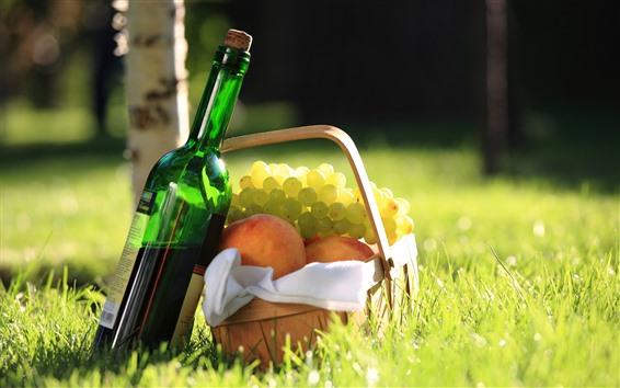 壁紙 ワイン、ブドウ、桃、バスケット、草、太陽の光