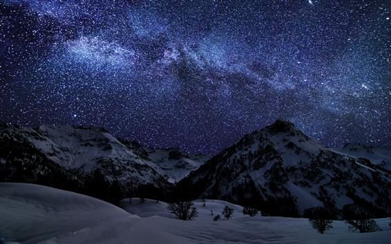 Fond d'écran Hiver, neige, montagnes, nuit, étoilé, étoiles