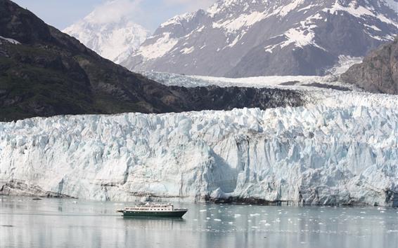 Обои Аляска, ледник, гора, снег, море