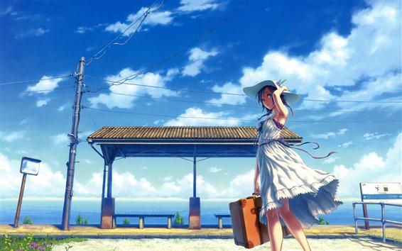 배경 화면 애니메이션 소녀, 치마, 모자, 역, 구름