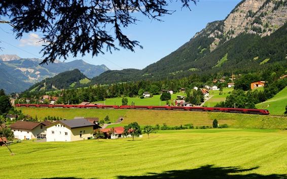 Papéis de Parede Áustria, trem, campo, campos, montanhas