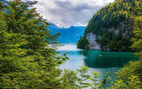 Papéis de Parede Baviera, Alemanha, lago, montanhas, árvores, verde, belas paisagens