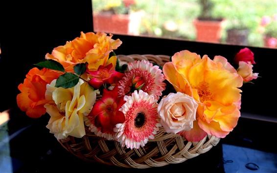 Wallpaper Beautiful flowers, basket, interior