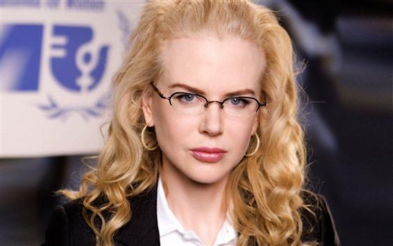 Обои Блондинка, прическа, очки, лицо