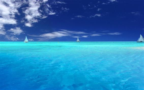Обои Синее море, яхты