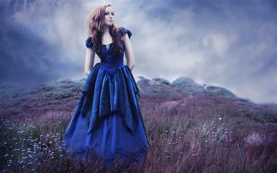 Wallpaper Blue skirt girl, hairstyle, wildflowers