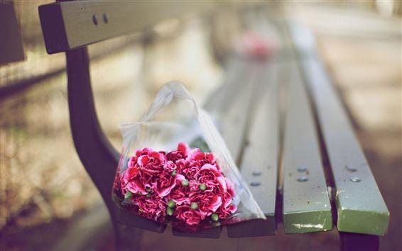 배경 화면 꽃다발, 핑크 카네이션, 벤치