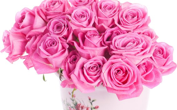 Wallpaper Bouquet, pink roses, vase, white background