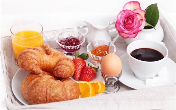 배경 화면 빵, 계란, 딸기, 주스, 커피, 장미, 아침 식사