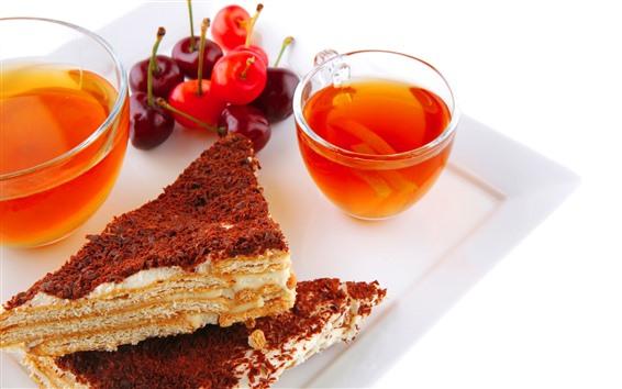 배경 화면 아침 식사, 케이크, 차, 체리