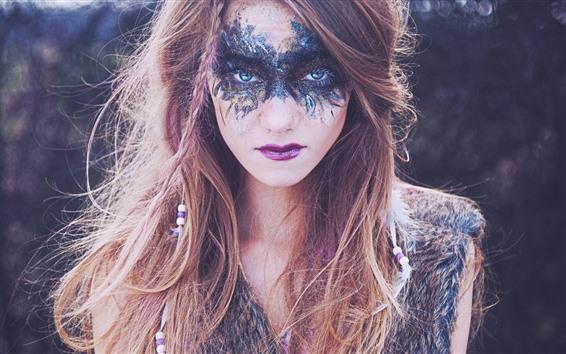 Обои Каштановые волосы девушки, лицо, макияж, голубые глаза