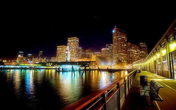 Fondos de pantalla Ciudad, río, banco, camino, edificios, luces, noche
